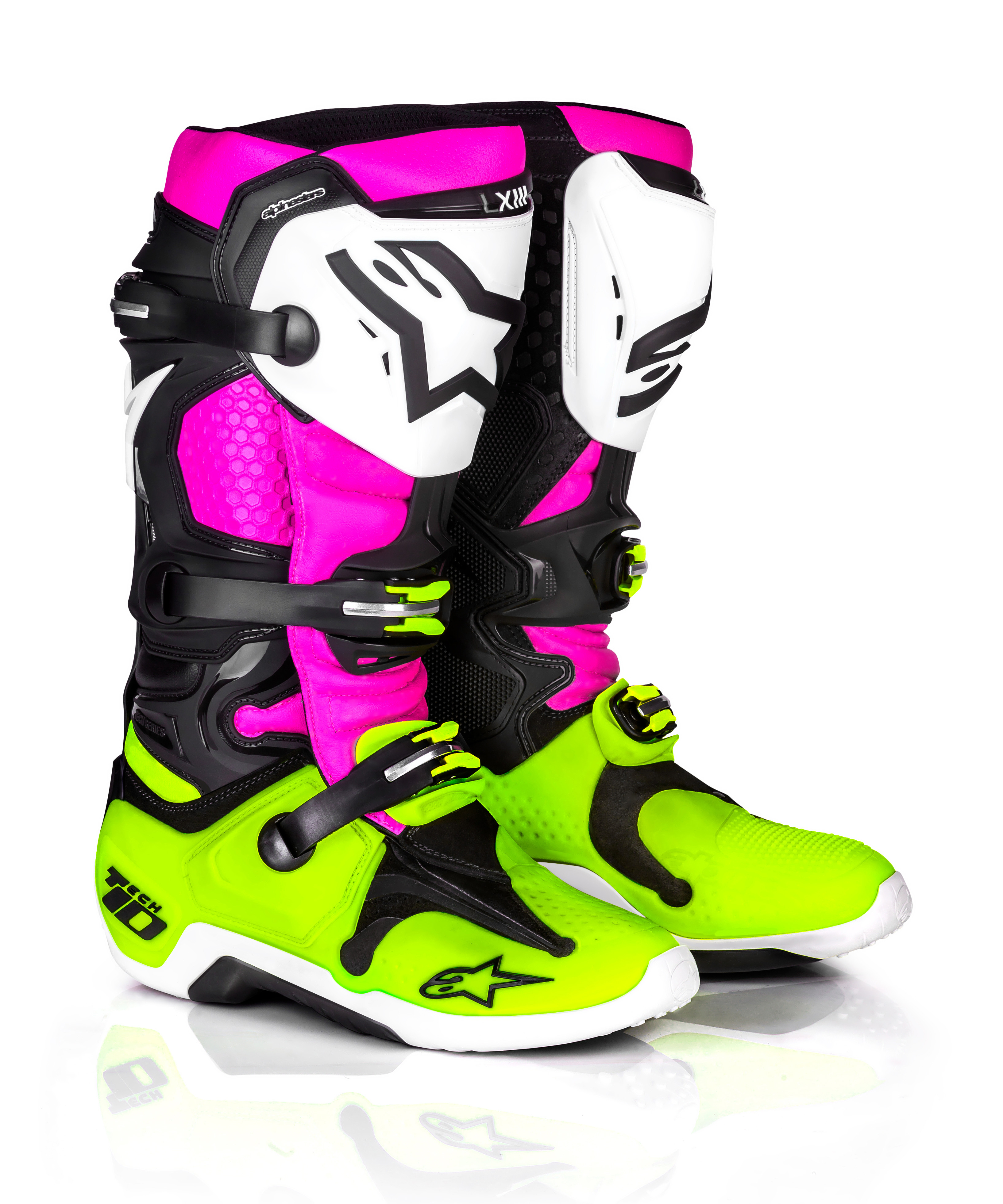 Le Radiant Tech 10 Boots Black/White/Pink Sz 10