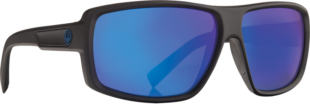 Double Dos Sunglasses Matte Black W/Blue Ion Lens