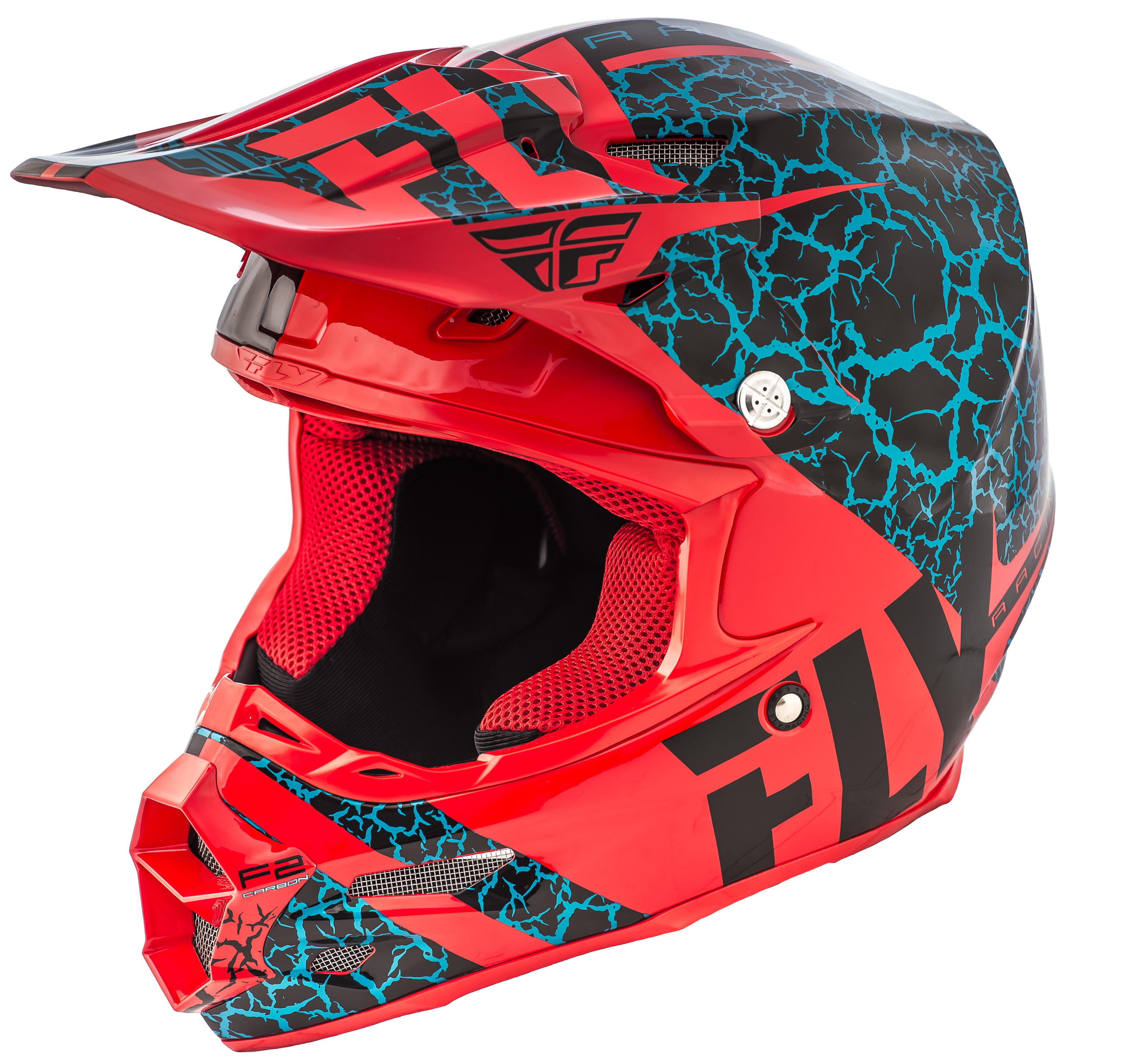 F2 Carbon Fracture Helmet Black/Red/Light Blue 2X