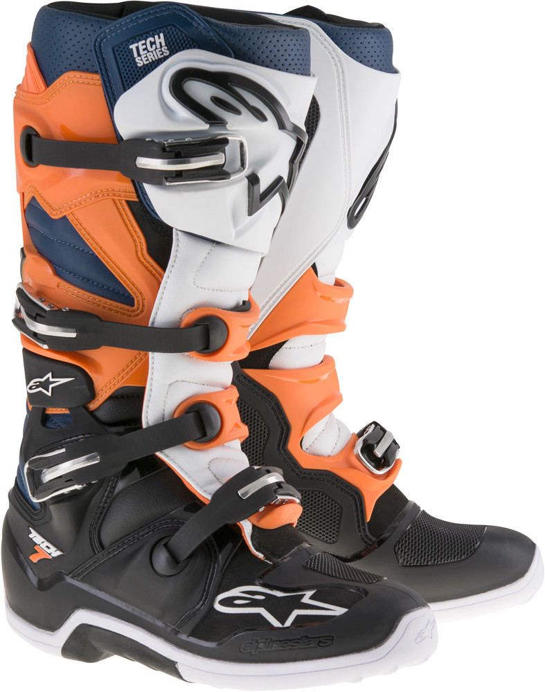 Tech 7 Boots Black/Orange/White/Blue Sz 10