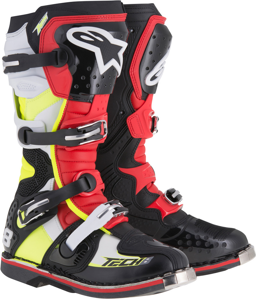 Tech 8 Rs Boots Black/Red/Yellow/White Sz 10