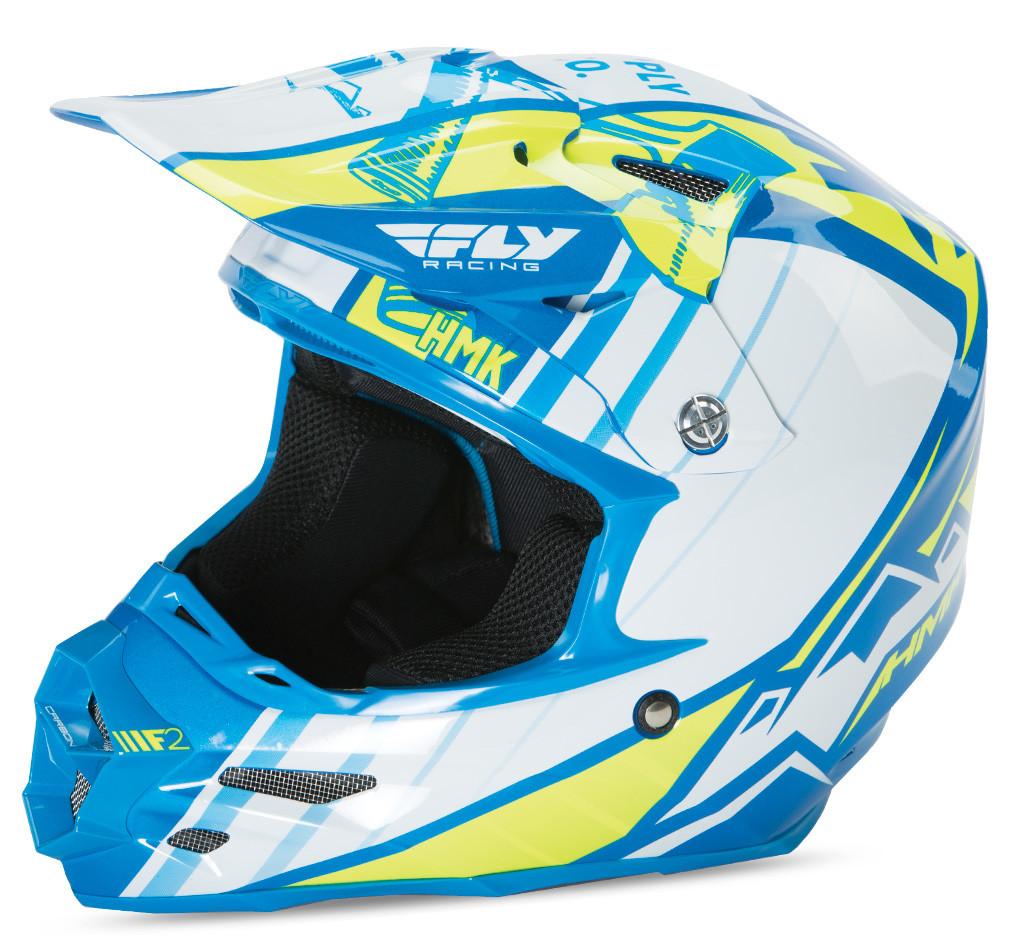 F2 Carbon Hmk Pro Cross Helmet Blue/Hi-Vis 2X