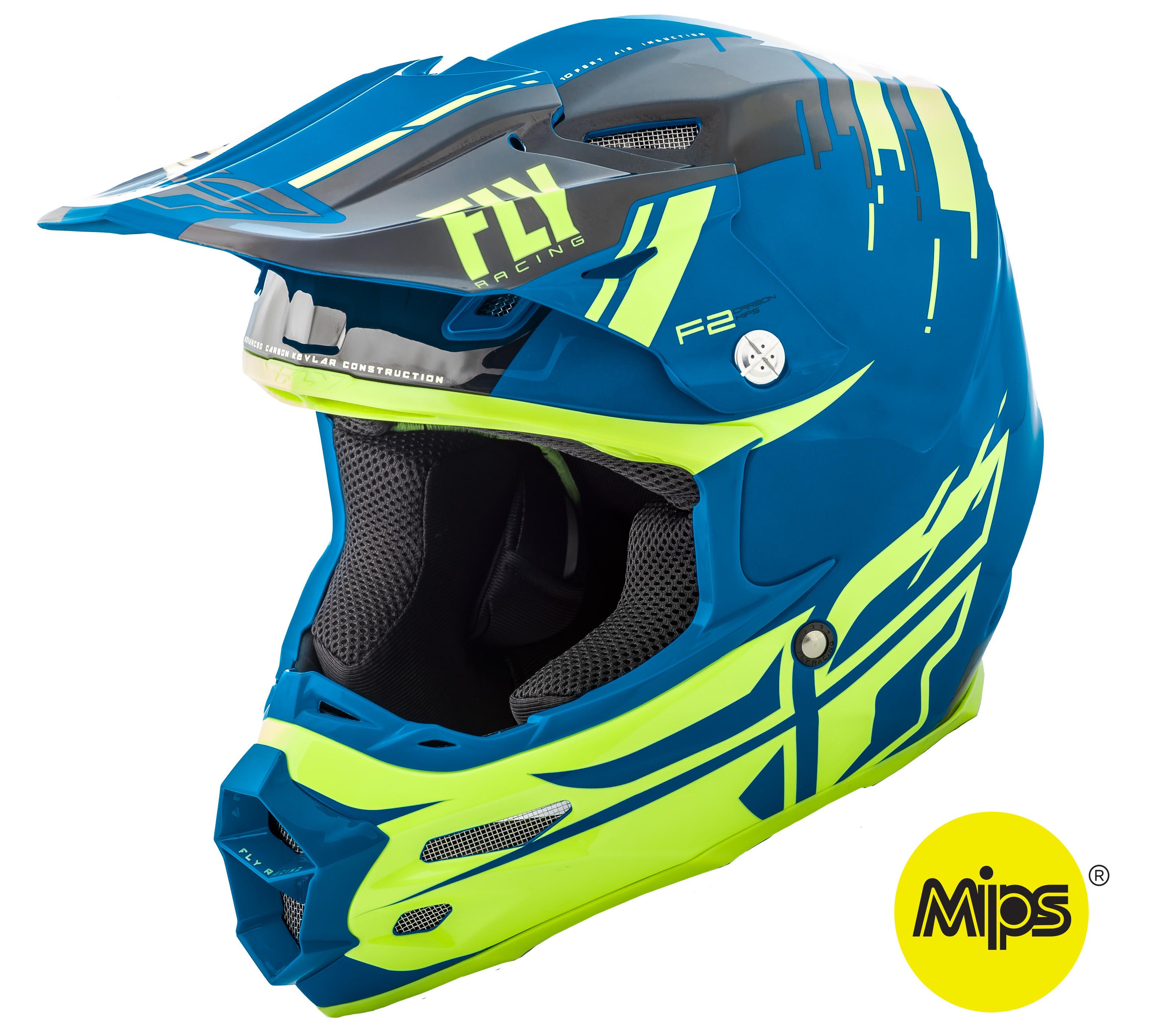 F2 Carbon Forge Helmet Black/Hi-Vis/Blue 2X