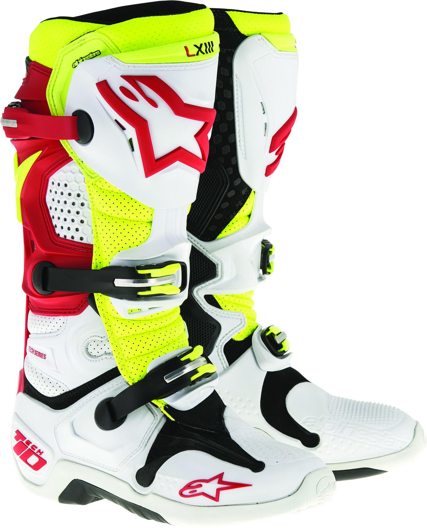 Tech 10 Boots White/Red/Yellow Sz 10
