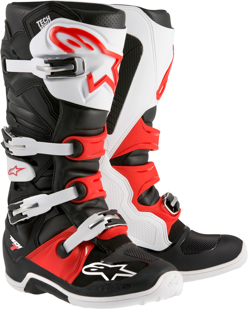 Tech 7 Boots Black/White/Red Sz 10