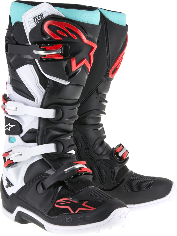 Tech 7 Boots Black/Turq/White/Red Sz 10