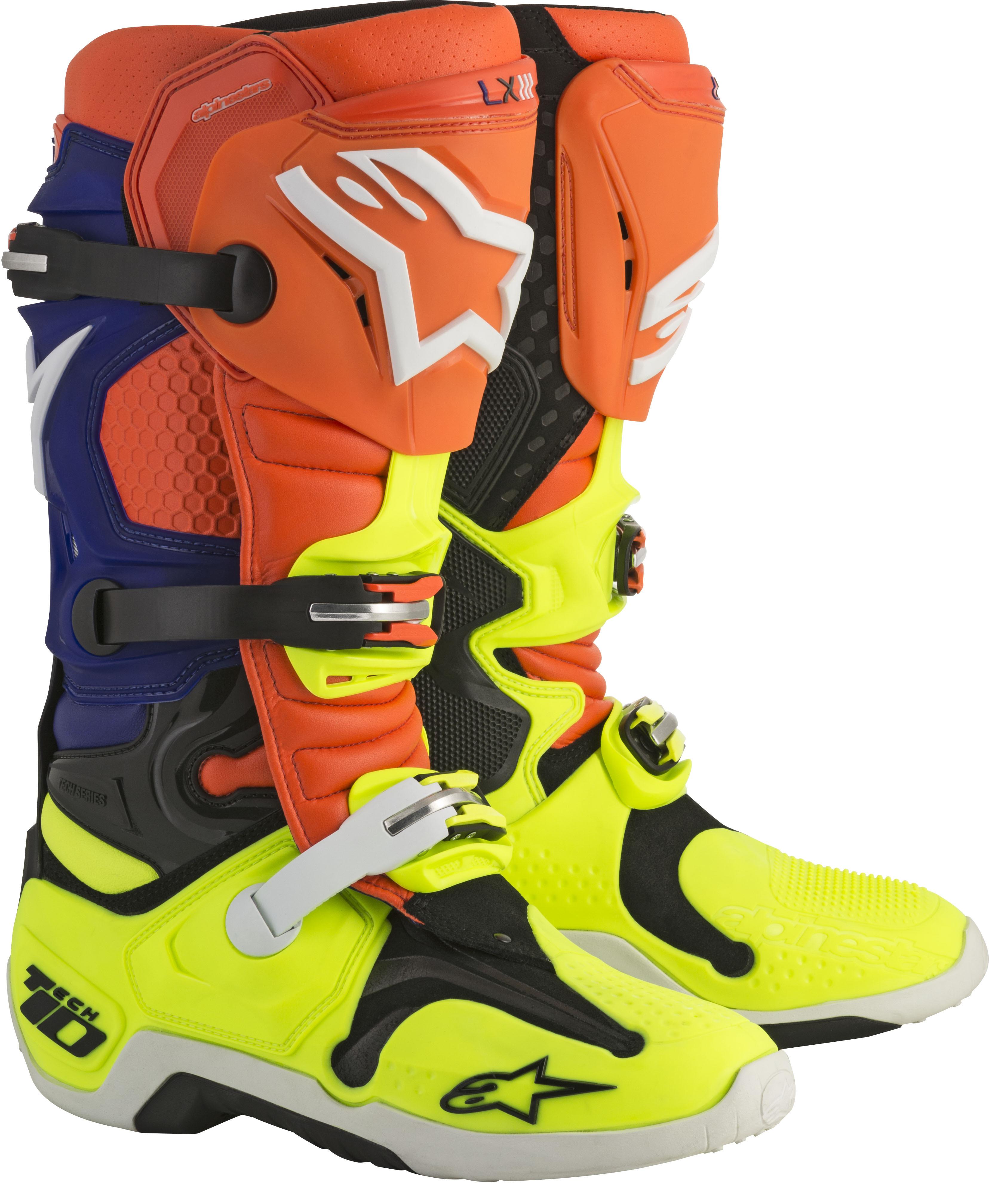 Tech 10 Boots Orange/Blue/White Sz 10