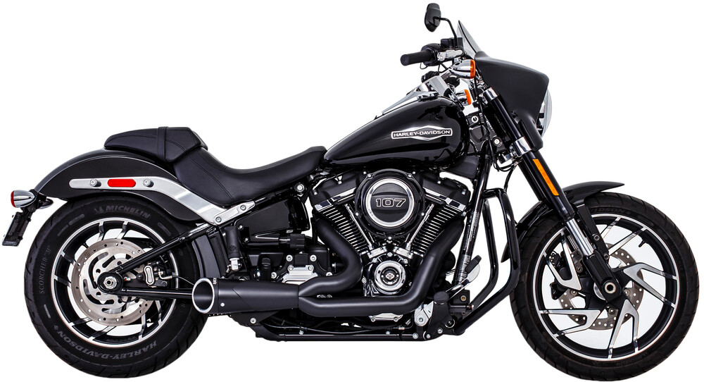 Freedom Combat 2-1 Shorty Black Motorcycle Exhaust 2018 Harley Softail FXFB