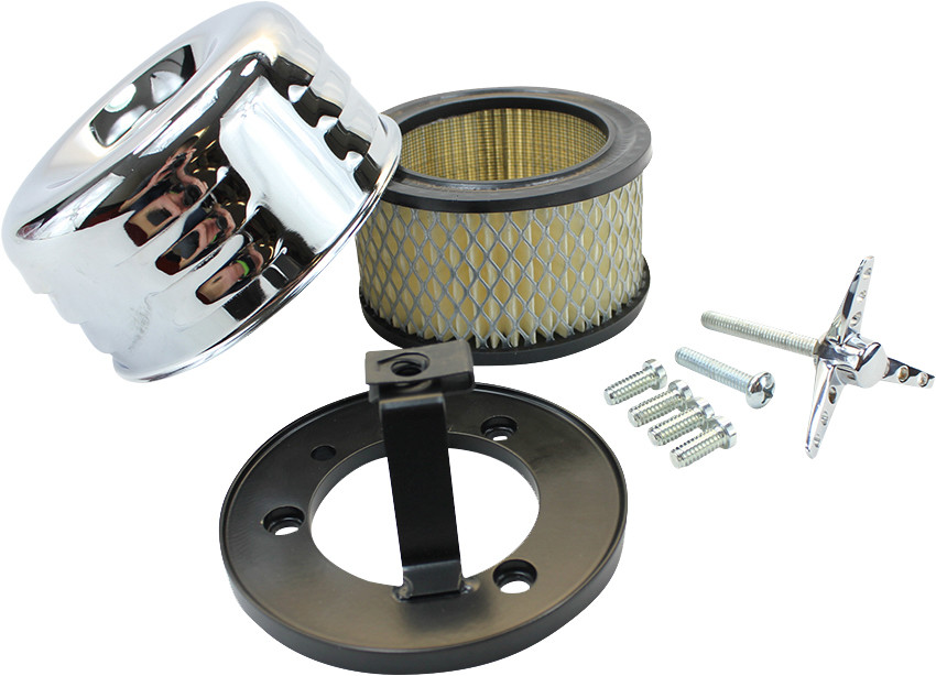 Louvered chrome air cleaner from TC Bros for Harley motorcycles