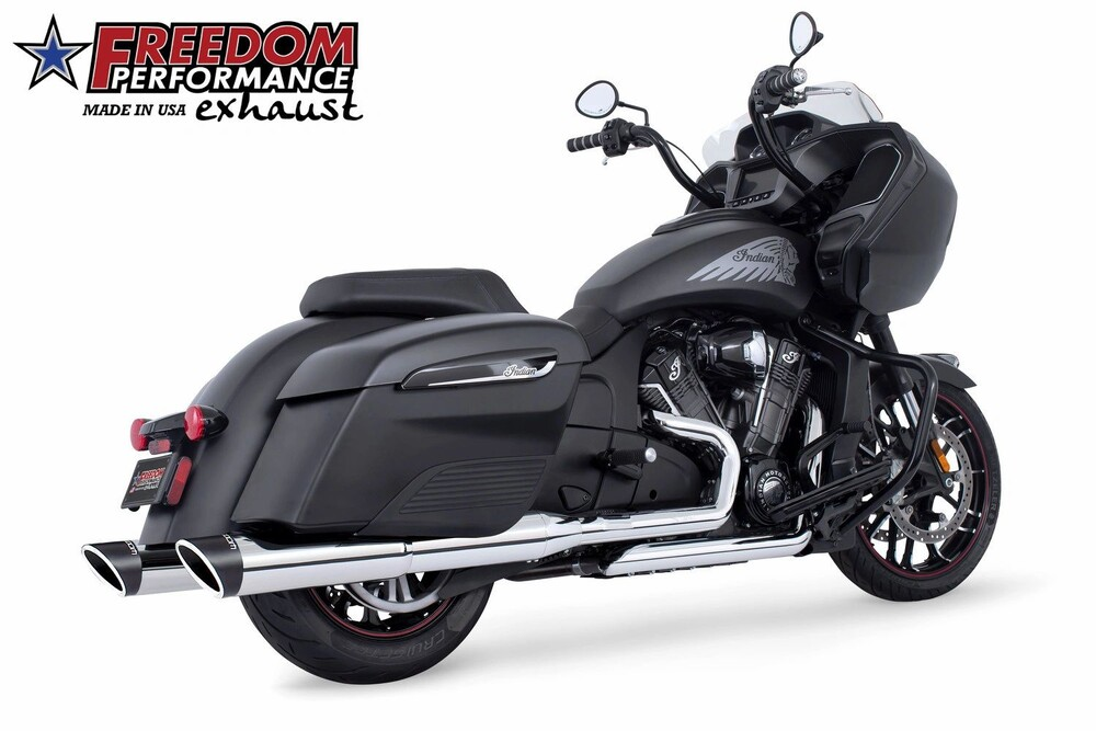 Freedom Sculpted Chrome Slip on Exhaust Mufflers 14-20 Indian Chieftain Elite