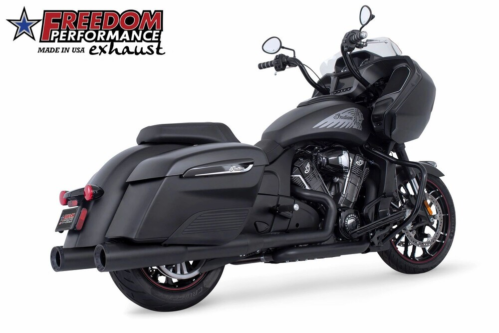 Freedom Black Straight Slip on Exhaust Mufflers 14-20 Indian Chieftain Elite