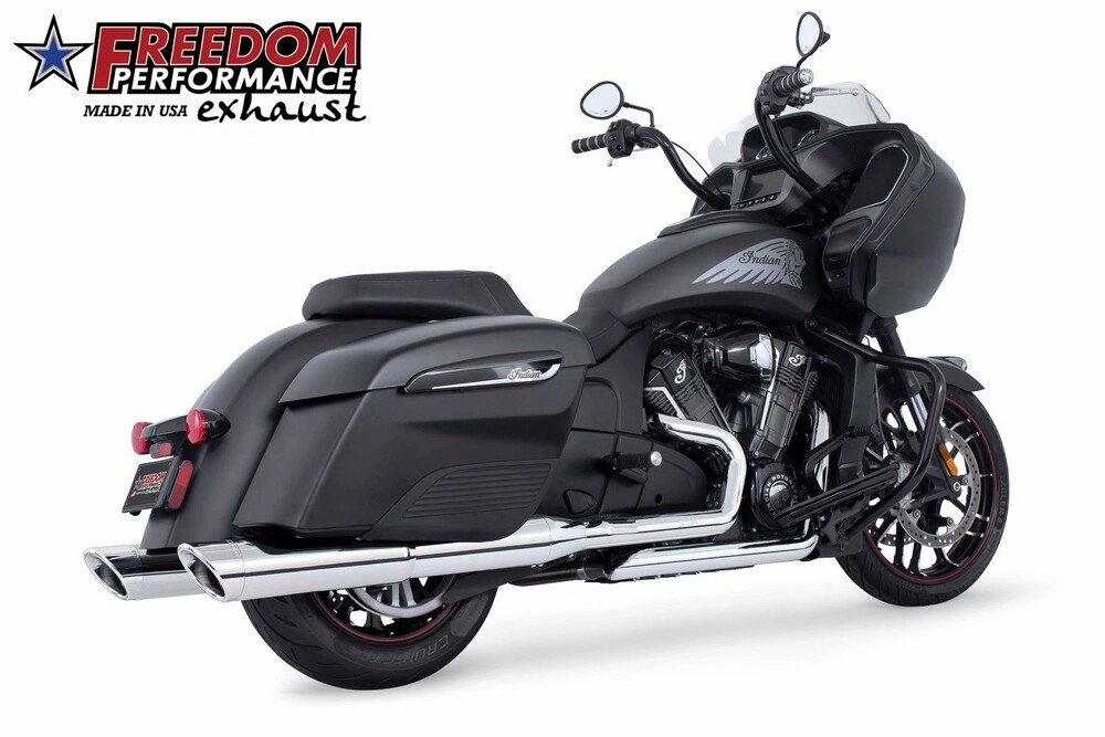 Freedom Slash Cut Chrome Slip on Exhaust Mufflers 14-20 Indian Chieftain Elite