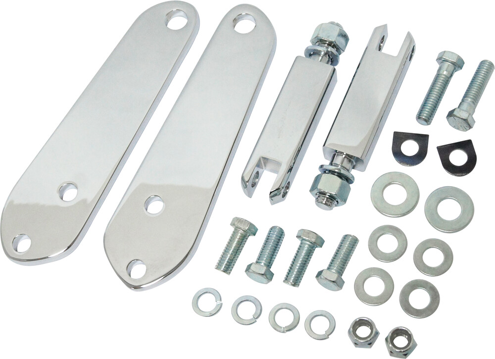 "Harddrive Chrome 3-3/8"" Highway Footpeg Mount Kit 91-17 Harley Dyna FXDF FXDB"