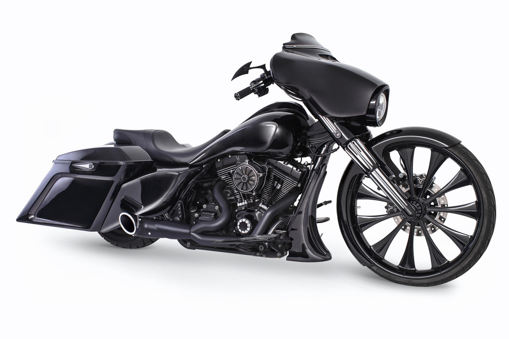 Freedom Turnout 2-1 Black Motorcycle Exhaust 95-16 Harley Touring FLHR FLHX FLTR