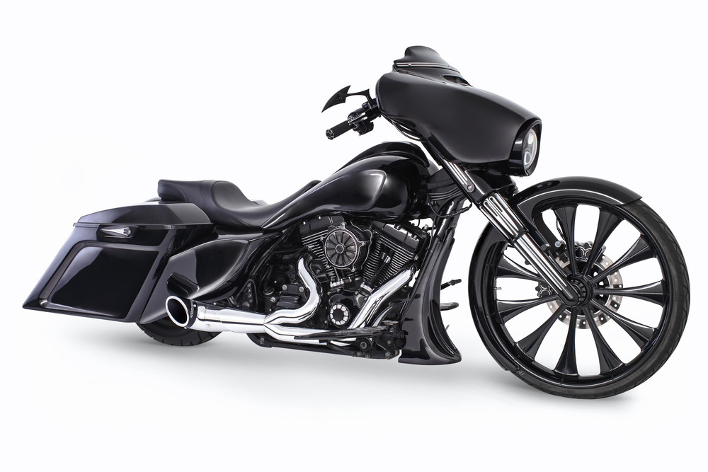 Freedom Turnout 2-1 Chrome Sculpted Black Tip Exhaust 17-19 Harley Touring FLHX