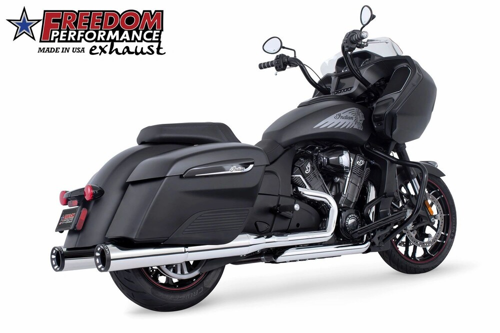 Freedom Chrome Black Slip on Exhaust Mufflers 14-20 Indian Chieftain Challenger