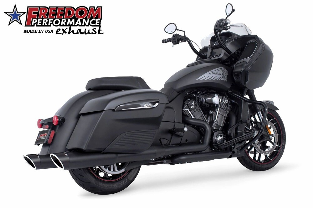 Freedom Sculpted Black Slip on Exhaust Mufflers 14-20 Indian Chieftain Elite
