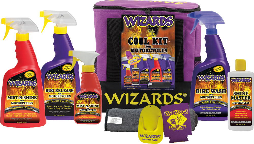 Wizards 7 Piece Complete Motorcycle Bike Wash & Shine Professional Detail Kit