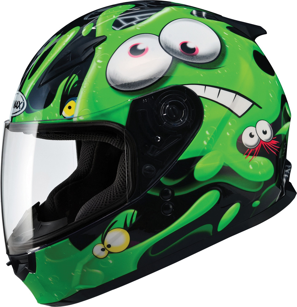 GM-49Y FULL Face Helmet,  Slimed BLACK GREEN 72-4945YM