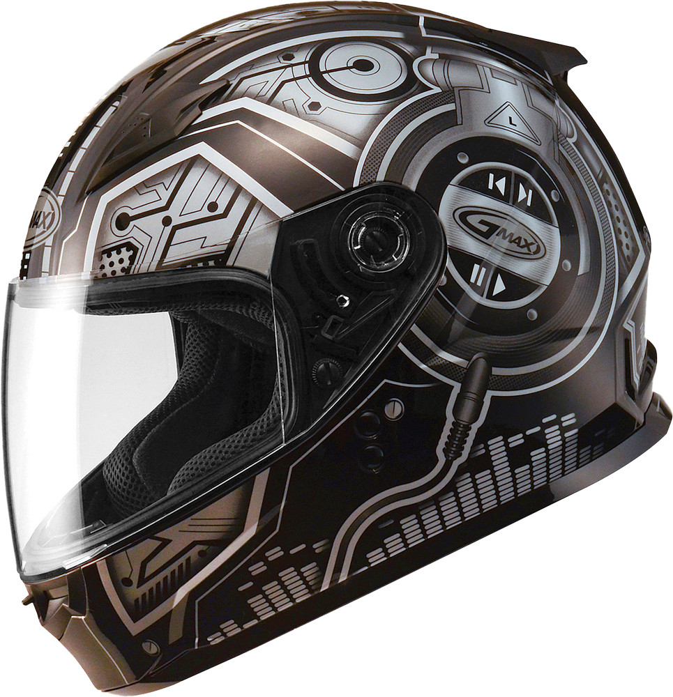 GM-49Y FULL Face Helmet,  Dj BLACK SILVER 72-4954YM