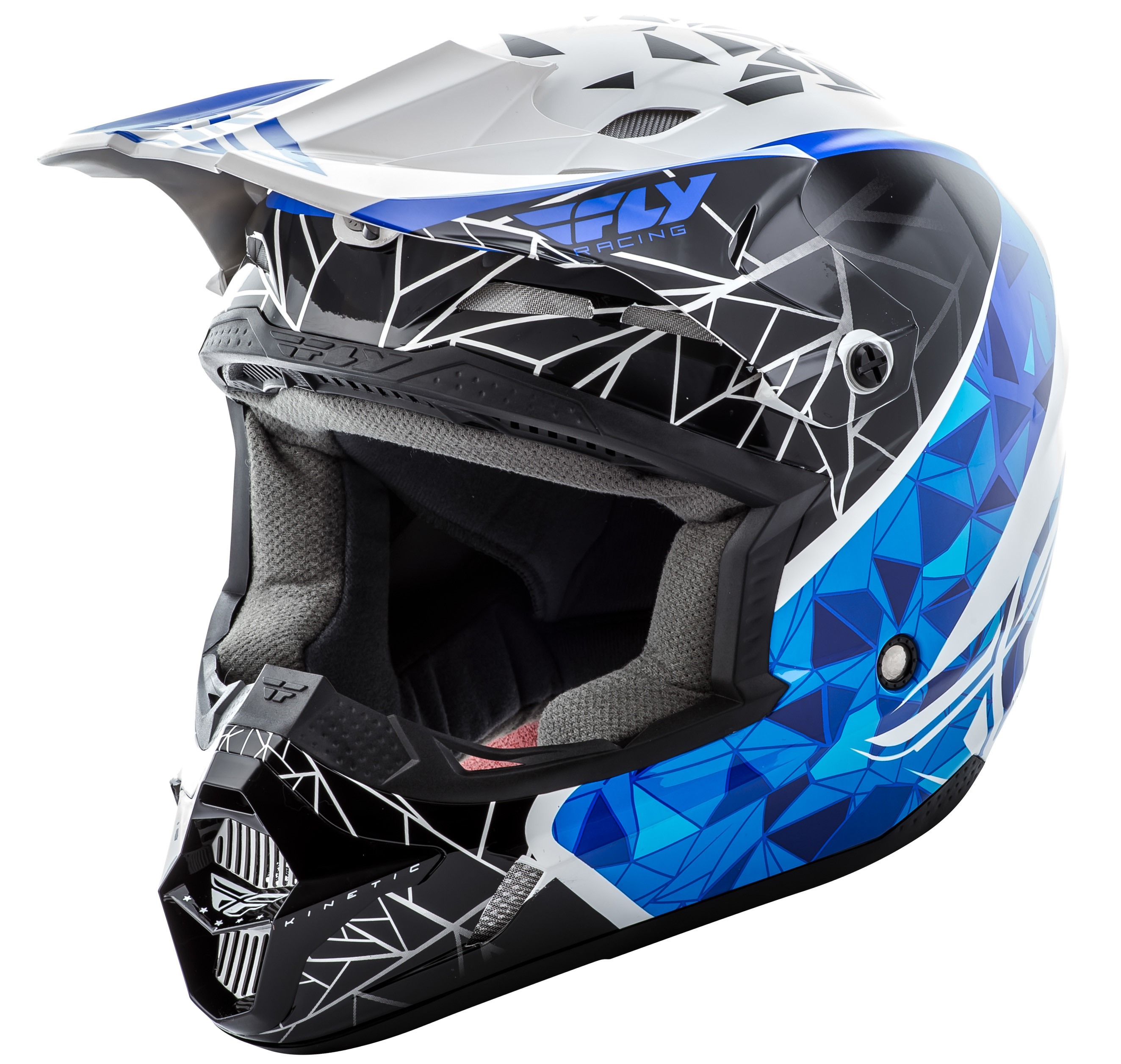 KINETIC CRUX Helmet White Black Blue,  YM  73-3383YM