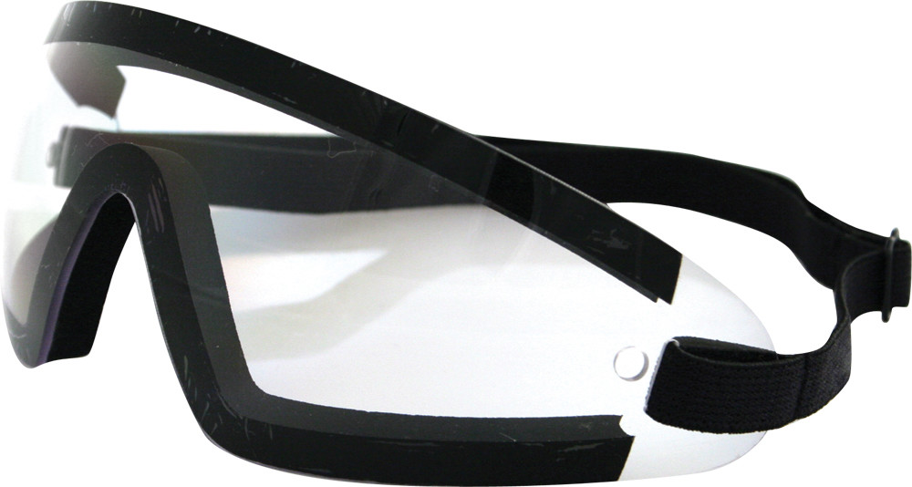 WRAP AROUND SUNGLASSES BLACK W/CLEAR LENS