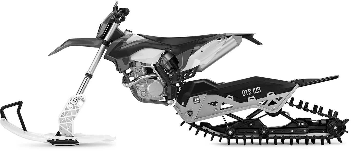 65c9fae5 The Camso DTS 129, a universal dirt-to-snow bike conversion system,  provides new heights of mobility and access in deep snow. It allows riders  to maximize ...