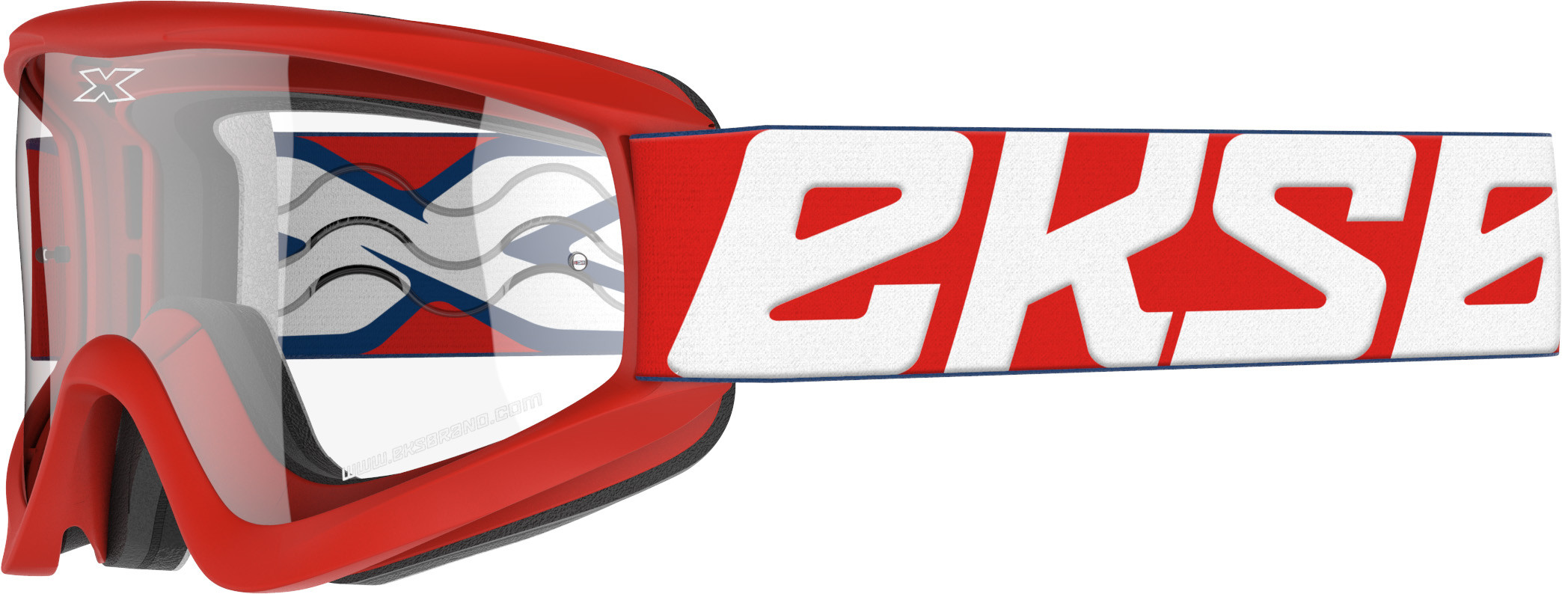 FLAT-OUT GOGGLE RED/WHITE W/CLEAR LENS
