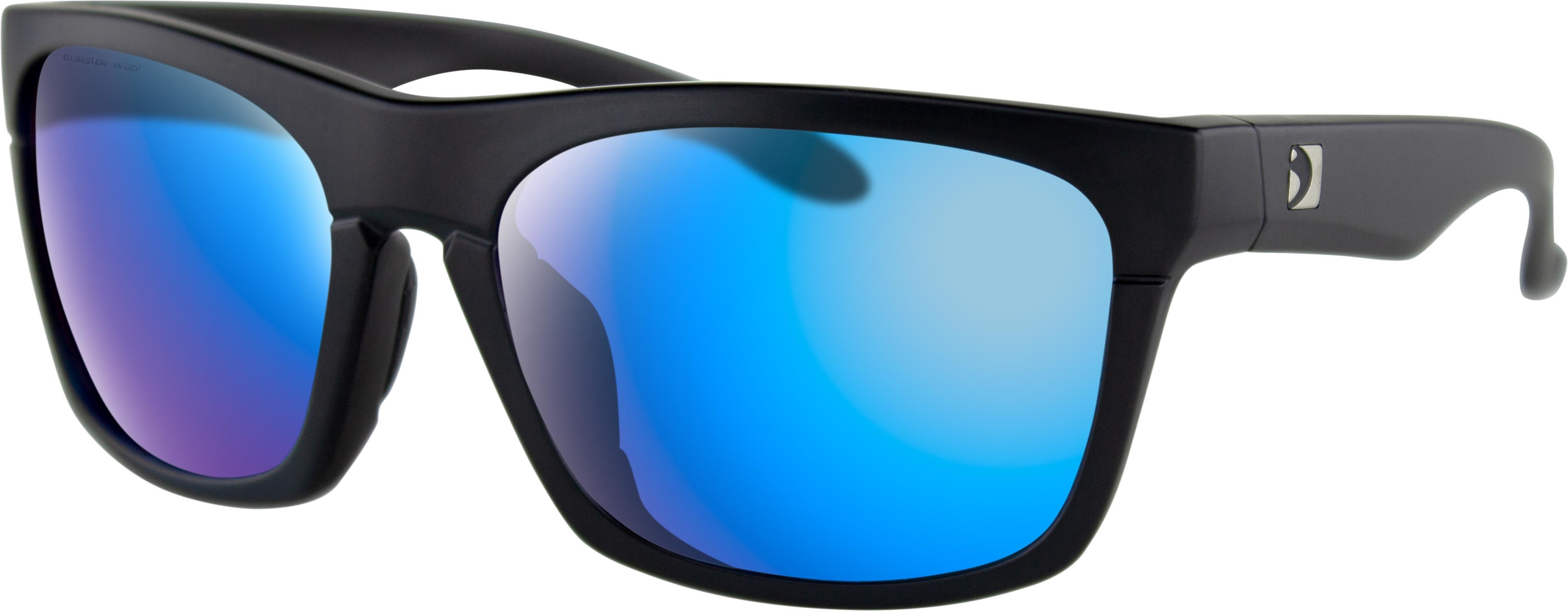 ROUTE SUNGLASSES MATTE BLACK W/PUR HD/LIGHT BLUE REVO MIRR