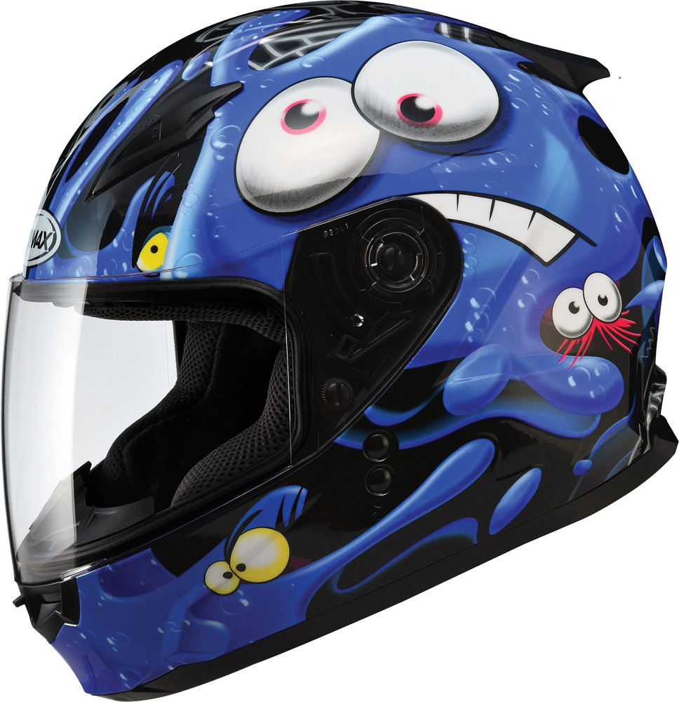 GM-49Y FULL Face Helmet,  Slimed BLACK BLUE 72-4942YL