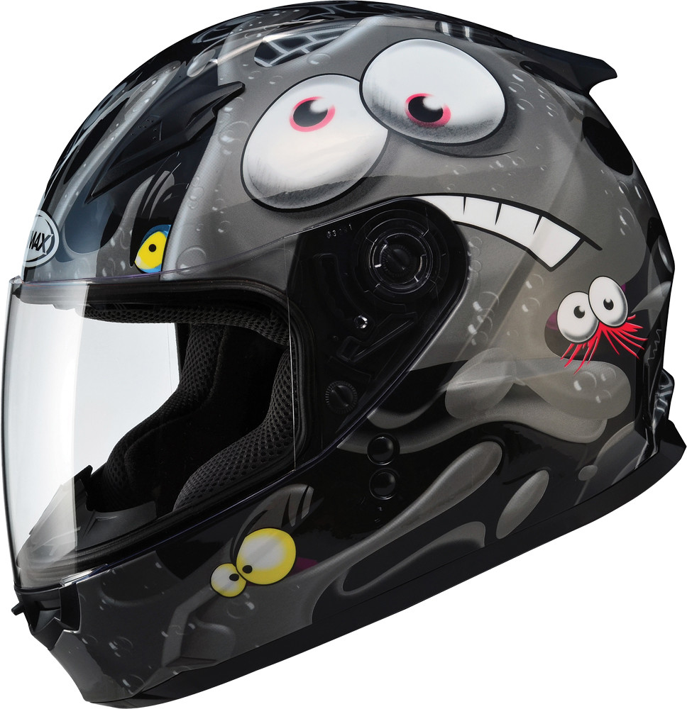 GM-49Y FULL Face Helmet,  Slimed BLACK SILVER 72-4944YL