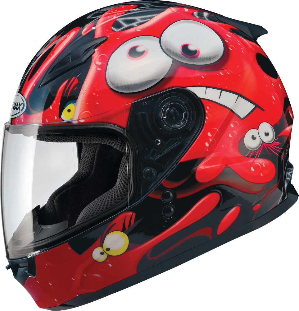 GM-49Y FULL Face Helmet,  Slimed BLACK RED 72-4941YL